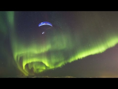 Breathtaking Paraglide Flight Through Aurora Borealis | Horacio Llorens