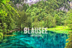 Aerial from Blausee (Switzerland) in 4K